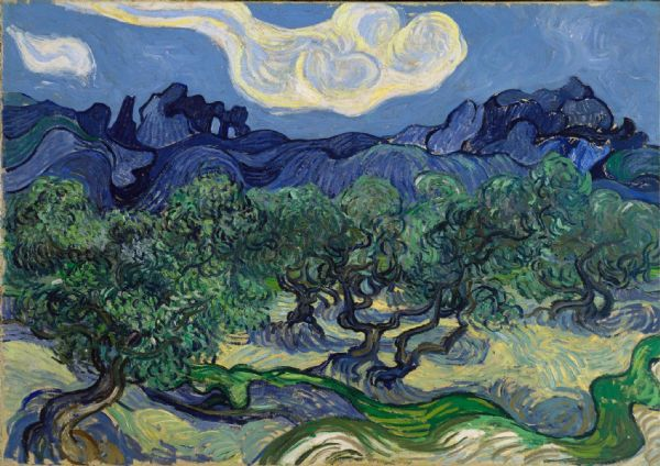 Van Gogh, Vincent: Olive Trees in a Mountainous Landscape. Fine Art Print/Poster. Sizes: A4/A3/A2/A1 (0017)